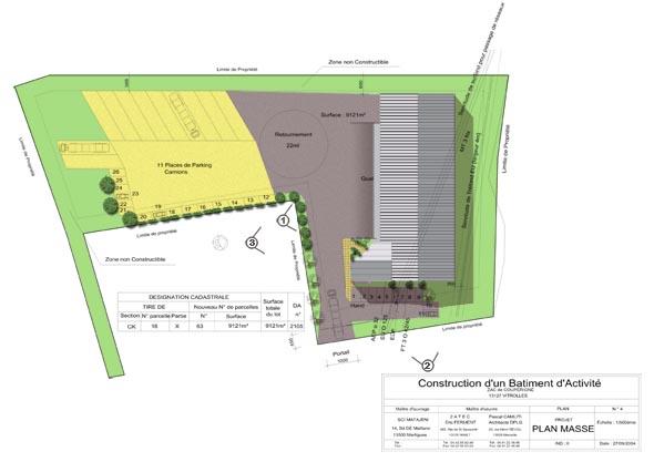 R alisations tertiaire bureaux usines plan de maison architecte shon marseille - Dessiner un plan de masse ...