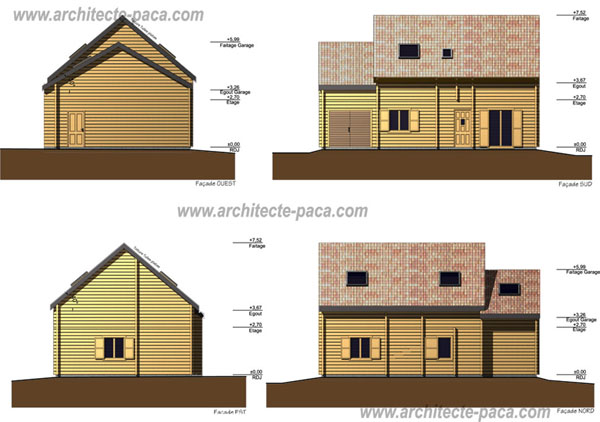 R alisations de maisons individuelles d 39 architecte for Facade maison simple