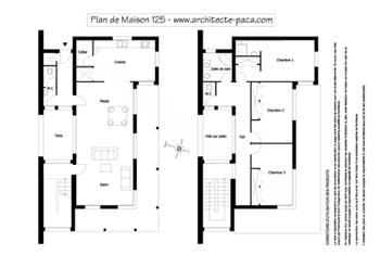 t l charger plan de maison moderne 125 plan niveaux 1 100e plan de maison individuelle d. Black Bedroom Furniture Sets. Home Design Ideas