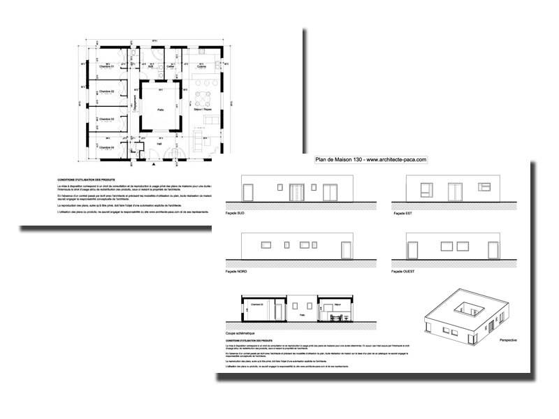 T l charger plan maison avec patio 130 dossier complet - Plan coupe facade maison ...