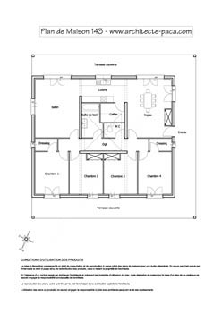 T l charger plan maison 143 plan 1 100e plan de for Plan maison carree plein pied