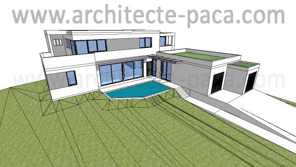 T l charger plan maison contemporaine 165 maquette 3d for Sketchup plan maison