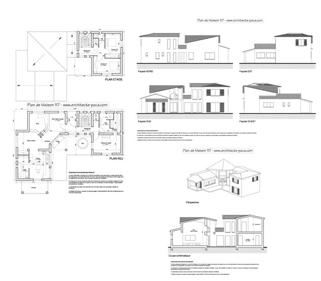 T l charger plan de maison semi contemporaine dossier for Plan complet maison