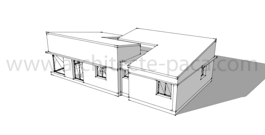Plan maison plain pied 123 maquette 3d architecte de for Architecte plan maison