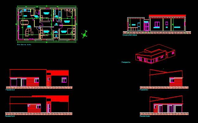 T l charger plan maison plain pied 123 fichier dwg for Plan de maison avec autocad