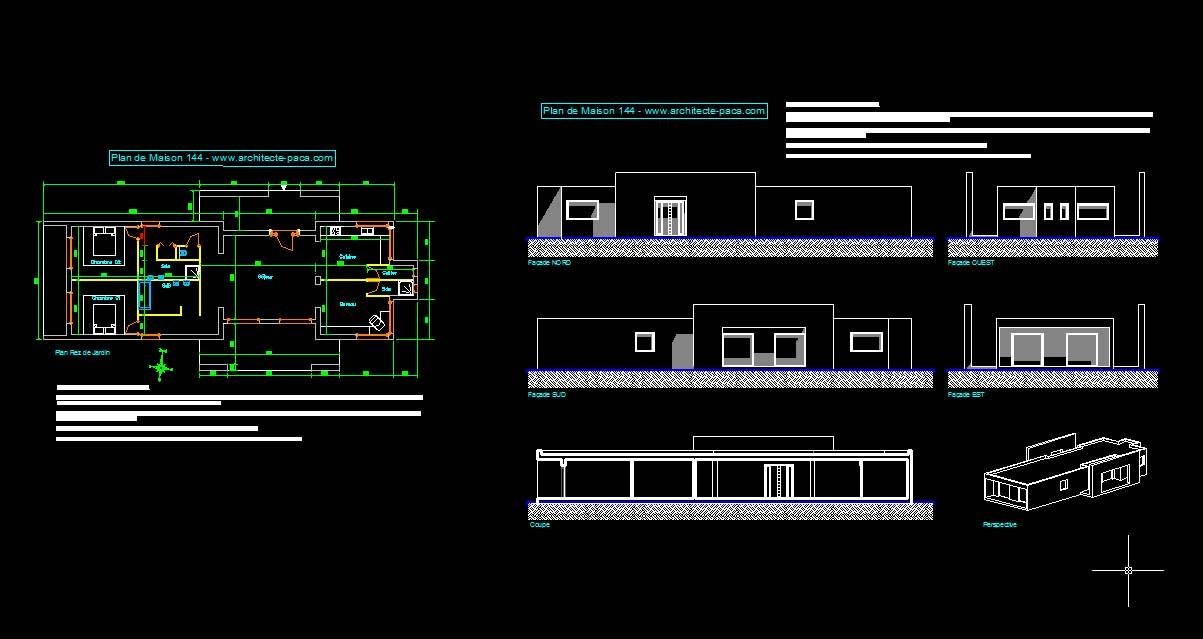 Télécharger : Plan maison moderne 144 - Fichier Autocad 2000 DWG, Plan de maison individuelle d ...