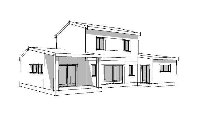 plan maison moderne sketchup