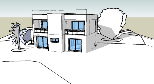 Plan maison contemporaine cube  Maquette 3D, Plan de maison