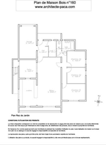 Maison En Bois Paca - Télécharger Plan maison bois plain pied 1 100e, Plan de maison individuelle d'Architecte n 160