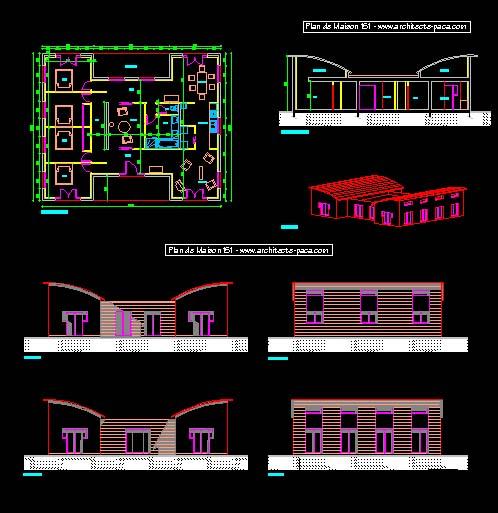 Télécharger Plan Maison Bois Plain Pied Fichier DWG, Plan De ...