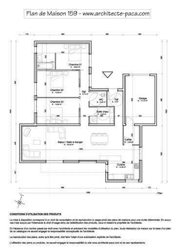 T l charger plan maison plain pied 1 100e cotations for Plan maison architecte plain pied