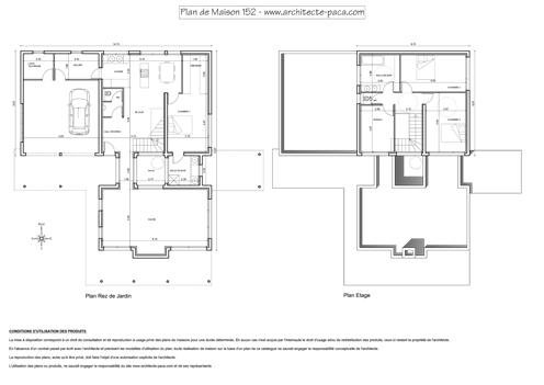T l charger plan de maison moderne 152 plan niveaux cotations 1 100e pla - Plan maison avec patio interieur ...