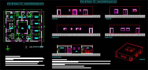 T l charger plan maison avec patio 130 fichier dwg for Plan de maison avec autocad