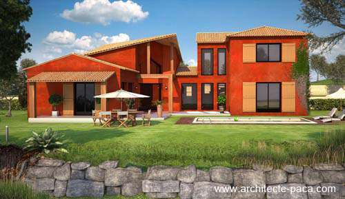 Architecte : Villa semi-contemporaine avec étage