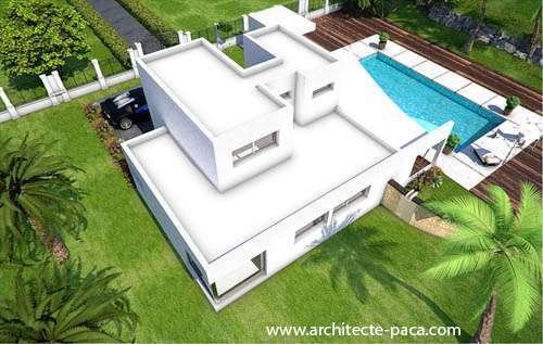 Architecte : Plan de maison contemporaine avec étage