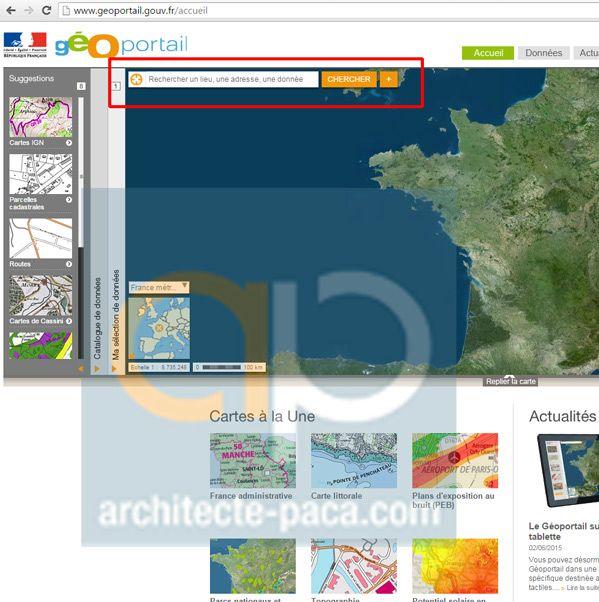 Geoportail saisie adresse plan de situation architecte for Plan situation permis