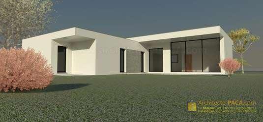 Maison contemporaine de plain pied de Type 4 (Plan N° 172)