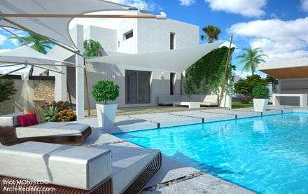 Maison moderne toit plat aspect méditerrannéenne