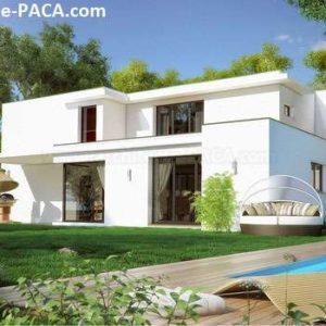 Maison moderne compacte avec grandes baies vitrées