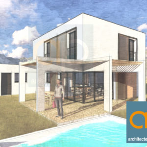 Maison cubique d'architecte avec Pergola bioclimatique