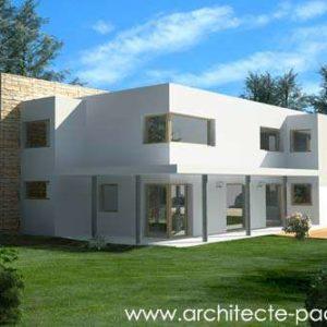 Plan de maison toit plat moderne