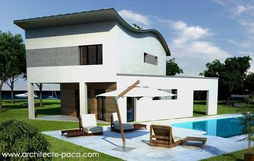 Maison moderne avec toiture zinc