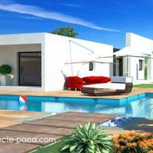 Perspective de maison d'architecte moderne