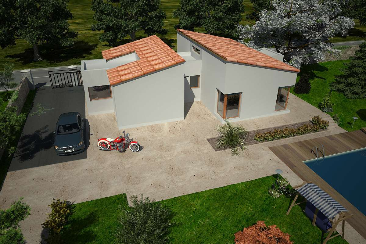 Plan De Maison Moderne plan de maison moderne 3/4 pièces de ± 120 m² (plan n° 127)