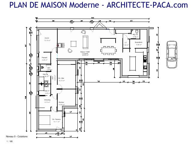 Plan De Maison En U Moderne N 180