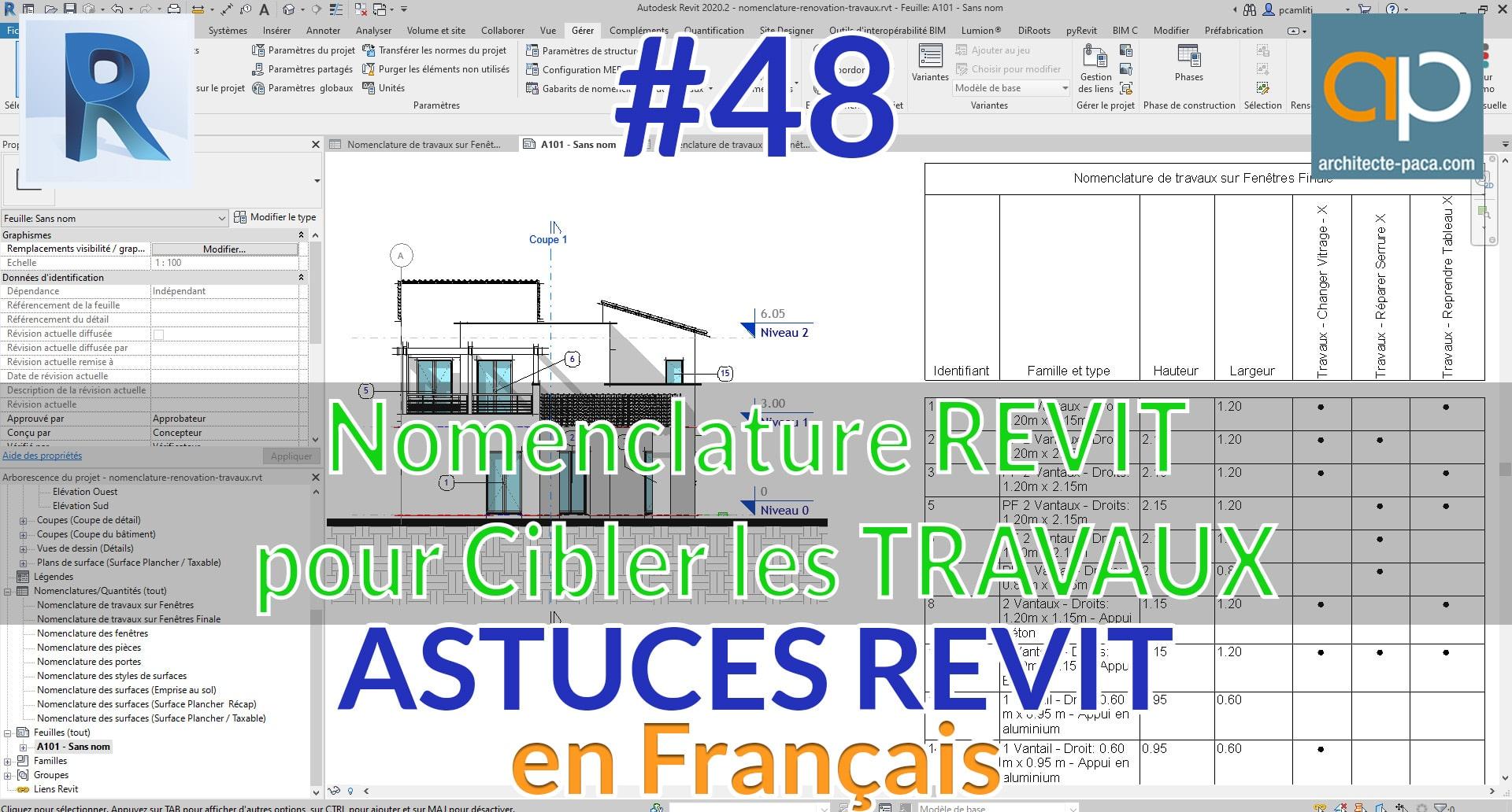Nomenclature REVIT : fenêtre et travaux rénovation